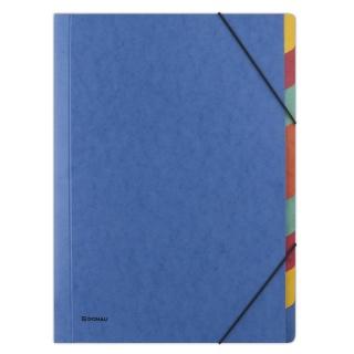 Teczka z gumką DONAU, preszpan, A4, 9 przekładek, niebieska, Teczki płaskie, Archiwizacja dokumentów