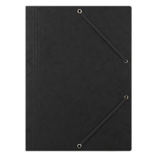 Teczka z gumką DONAU, preszpan, A4, 390gsm, 3-skrz., czarna, Teczki płaskie, Archiwizacja dokumentów