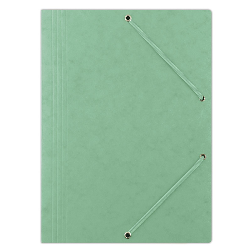 Elasticated File DONAU, pressed board, A4, 390gsm, 3 flaps, green