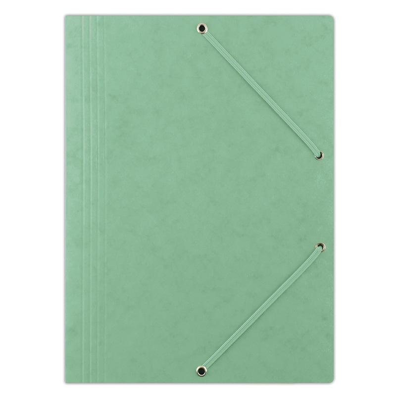 Teczka z gumką DONAU, preszpan, A4, 390gsm, 3-skrz., zielona, Teczki płaskie, Archiwizacja dokumentów