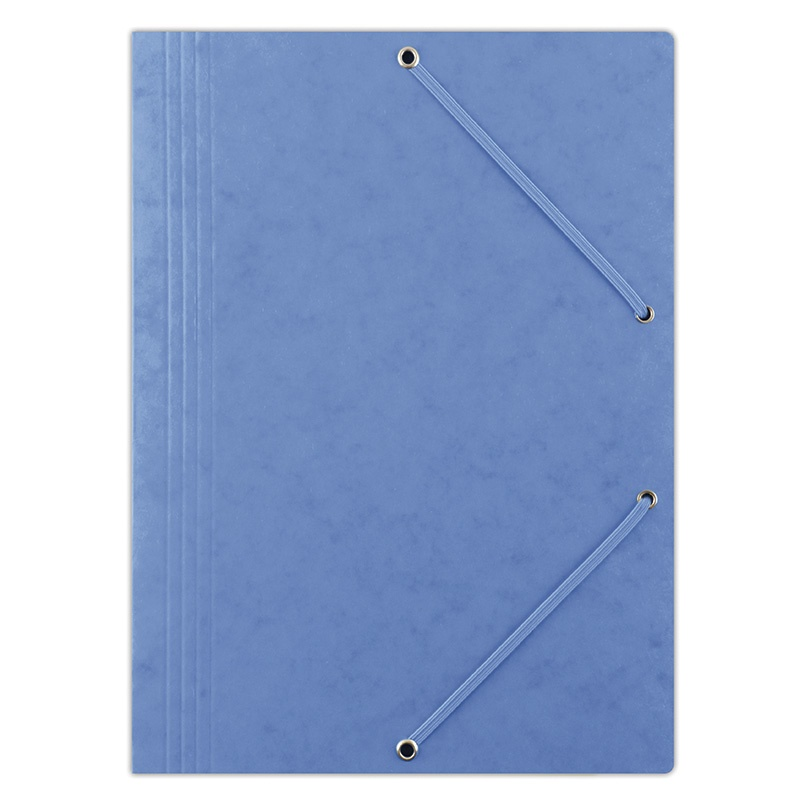 Elasticated File DONAU, pressed board, A4, 390gsm, 3 flaps, blue