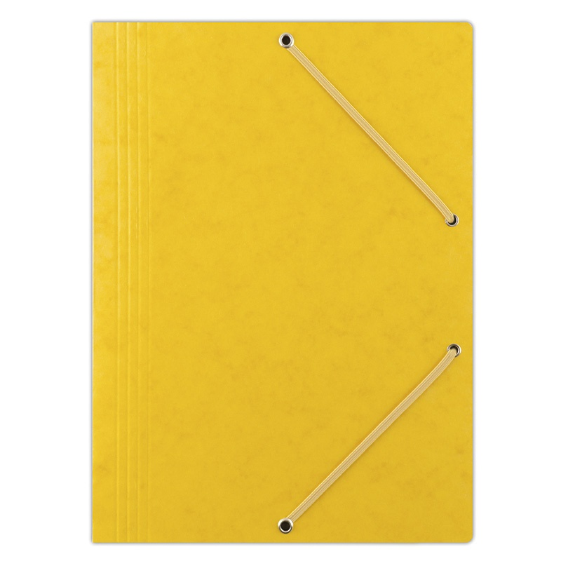 Elasticated File DONAU, pressed board, A4, 390gsm, 3 flaps, yellow