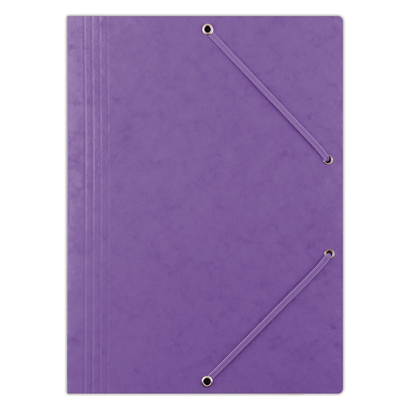Elasticated File DONAU, pressed board, A4, 390gsm, 3 flaps, purple