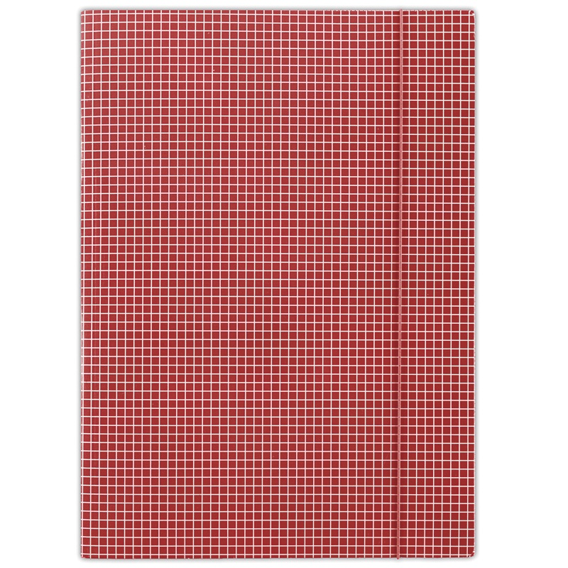 Elasticated File DONAU, cardboard, A4, 400gsm, 3 flaps, red, checked