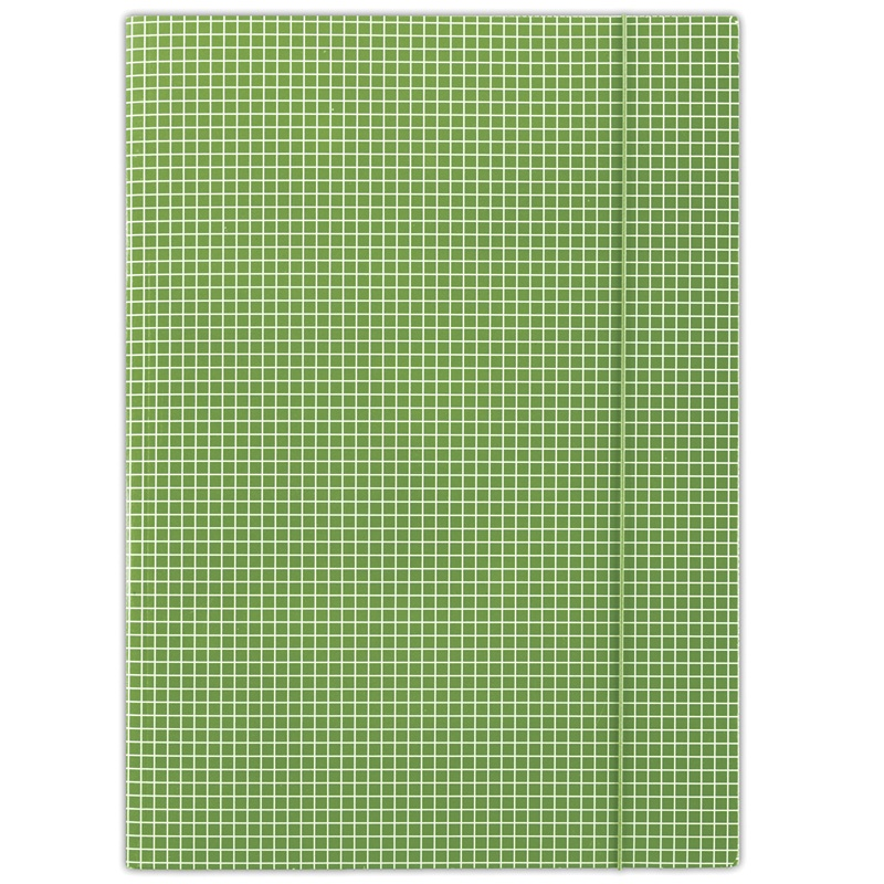 Elasticated File DONAU, cardboard, A4, 400gsm, 3 flaps, green, checked