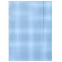 Teczka z gumką DONAU, karton, A4, 400gsm, 3-skrz., niebieska w kratę