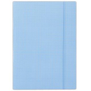 Teczka z gumką DONAU, karton, A4, 400gsm, 3-skrz., niebieska w kratę, Teczki płaskie, Archiwizacja dokumentów