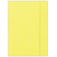 Elasticated File cardboard A4 400gsm 3 flaps yellow checked