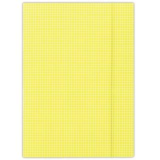 Teczka z gumką DONAU, karton, A4, 400gsm, 3-skrz., żółta w kratę, Teczki płaskie, Archiwizacja dokumentów