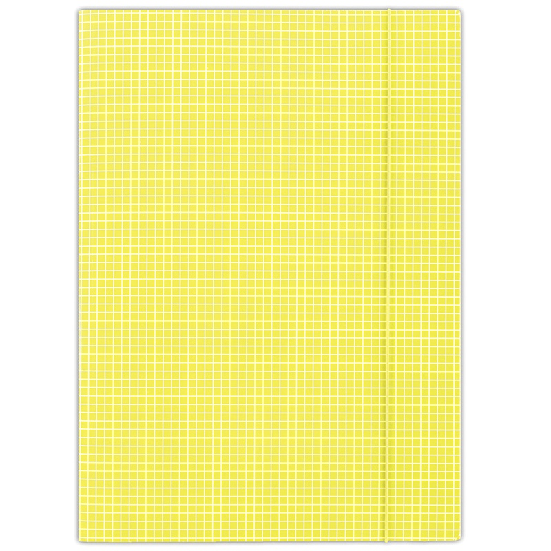 Elasticated File DONAU, cardboard, A4, 400gsm, 3 flaps, yellow, checked
