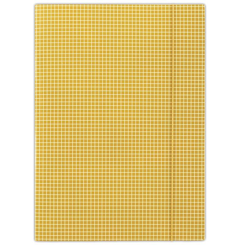 Teczka z gumką DONAU, karton, A4, 400gsm, 3-skrz., pomarańczowa w kratę, Teczki płaskie, Archiwizacja dokumentów
