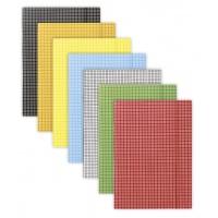 Teczka z gumką DONAU, karton, A4, 400gsm, 3-skrz., mix kolorów w kratę