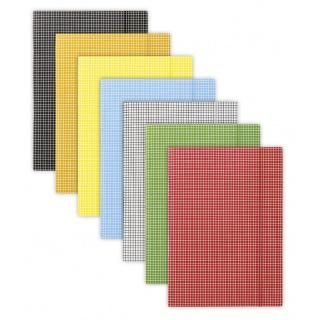 Teczka z gumką DONAU, karton, A4, 400gsm, 3-skrz., mix kolorów w kratę, Teczki płaskie, Archiwizacja dokumentów