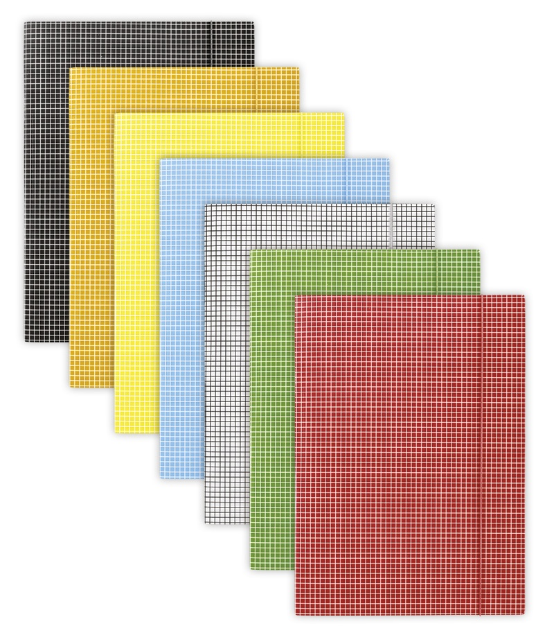 Elasticated File DONAU, cardboard, A4, 400gsm, 3 flaps, assorted colours, checked