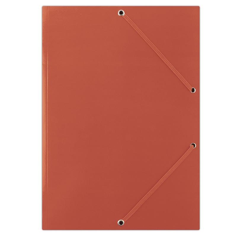 Elasticated File DONAU, cardboard, A4, 400gsm, 3 flaps, red