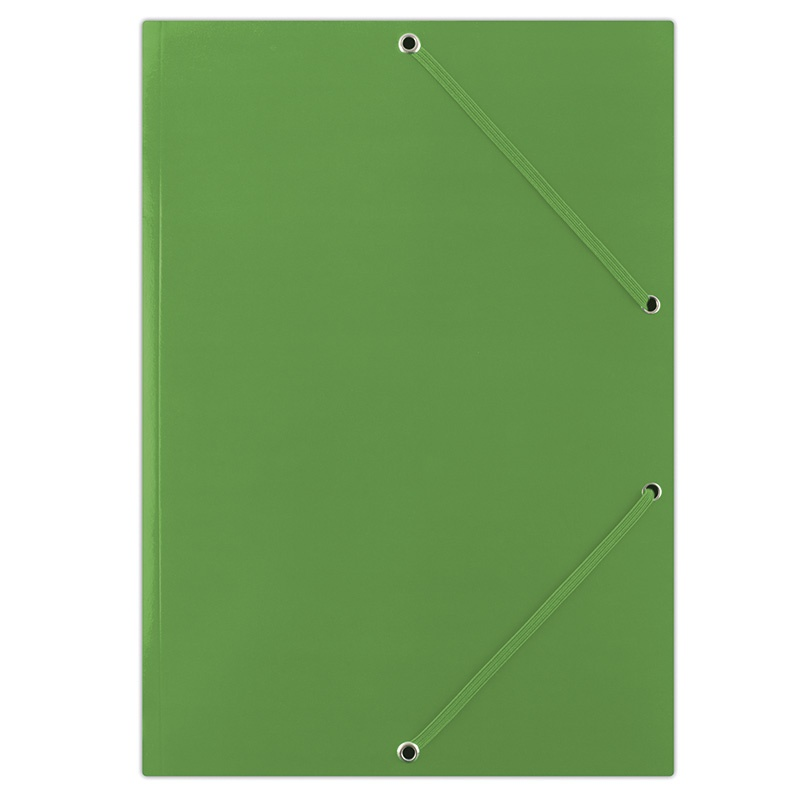 Elasticated File DONAU, cardboard, A4, 400gsm, 3 flaps, green
