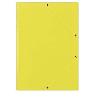Teczka z gumką DONAU, karton, A4, 400gsm, 3-skrz., żółta, Teczki płaskie, Archiwizacja dokumentów