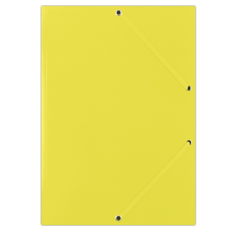 Elasticated File DONAU, cardboard, A4, 400gsm, 3 flaps, yellow