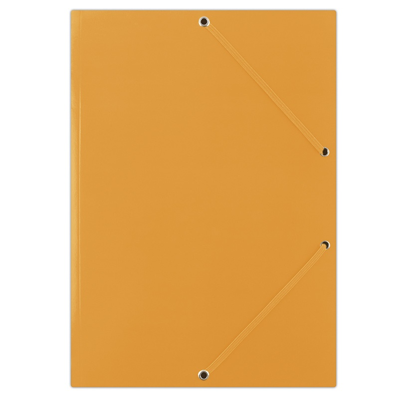 Elasticated File DONAU, cardboard, A4, 400gsm, 3 flaps, orange