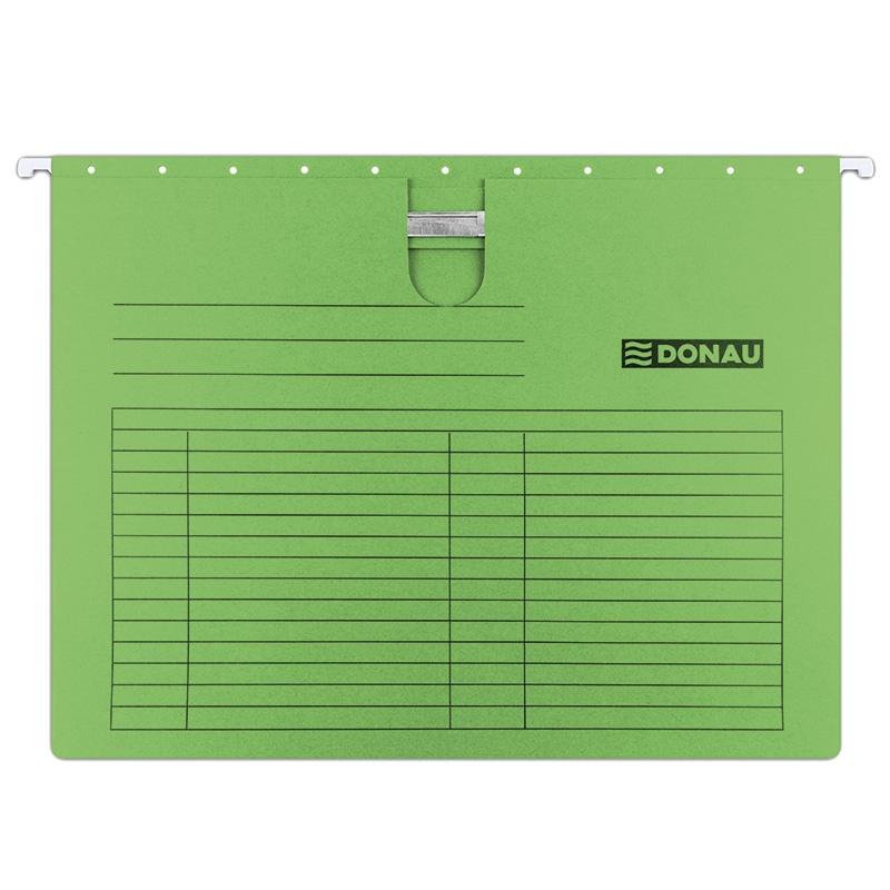 Teczka zawieszkowa DONAU z wąsem, A4, 230gsm, zielona, Teczki zawieszkowe, Archiwizacja dokumentów