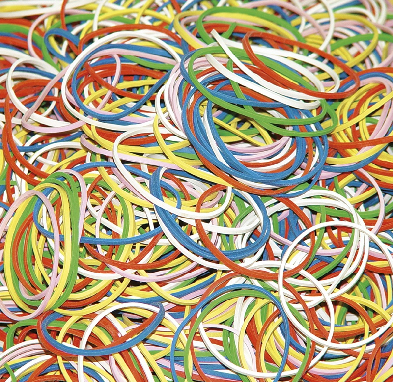 Rubber Bands DONAU, 1000g, assorted colours