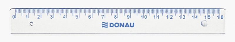 Ruler DONAU 16cm, hanging bag, clear