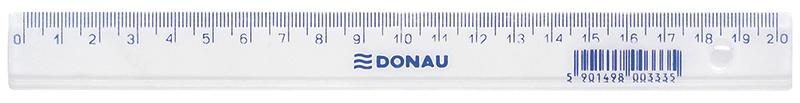 Linijka DONAU, 20cm, transparentna, Linijki, ekierki, kątomierze, Artykuły do pisania i korygowania