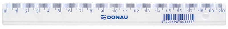 Ruler DONAU 20cm, hanging bag, clear