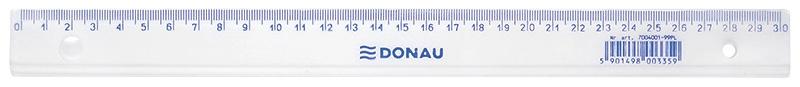 Linijka DONAU, 30cm, transparentna, Linijki, ekierki, kątomierze, Artykuły do pisania i korygowania