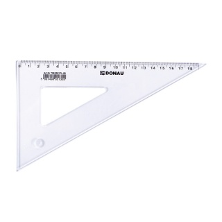 Ekierka DONAU, duża, 19cm, 60°, transparentna, Linijki, ekierki, kątomierze, Artykuły do pisania i korygowania