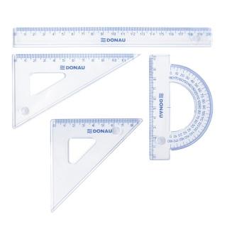 Zestaw geometryczny DONAU, mały, zawieszka, transparentny, Linijki, ekierki, kątomierze, Artykuły do pisania i korygowania