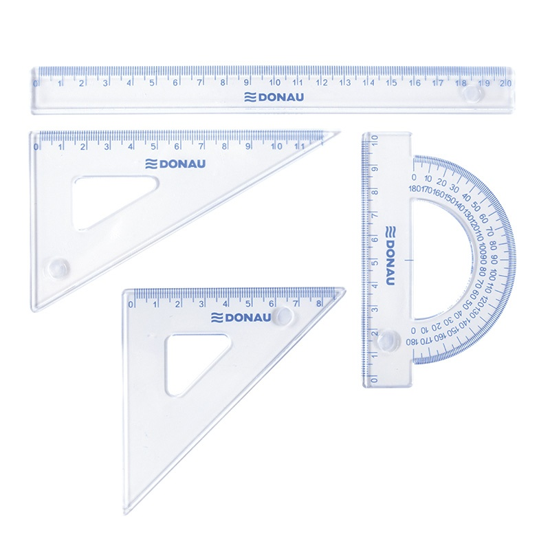 Geometry Set DONAU, small, pendant packaging, clear