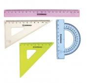 Zestaw geometryczny DONAU, mały, zawieszka, mix kolorów, Linijki, ekierki, kątomierze, Artykuły do pisania i korygowania