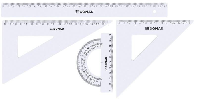 Zestaw geometryczny DONAU, duży, zawieszka, transparentny, Linijki, ekierki, kątomierze, Artykuły do pisania i korygowania