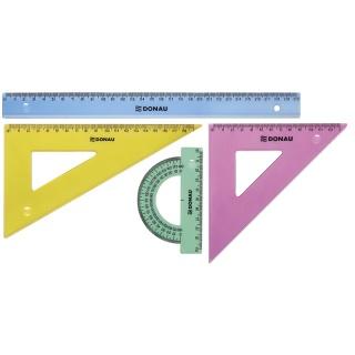 Zestaw geometryczny DONAU, duży, zawieszka, mix kolorów, Linijki, ekierki, kątomierze, Artykuły do pisania i korygowania