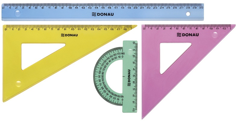 Geometry Set DONAU, large, pendant packaging, assorted colours