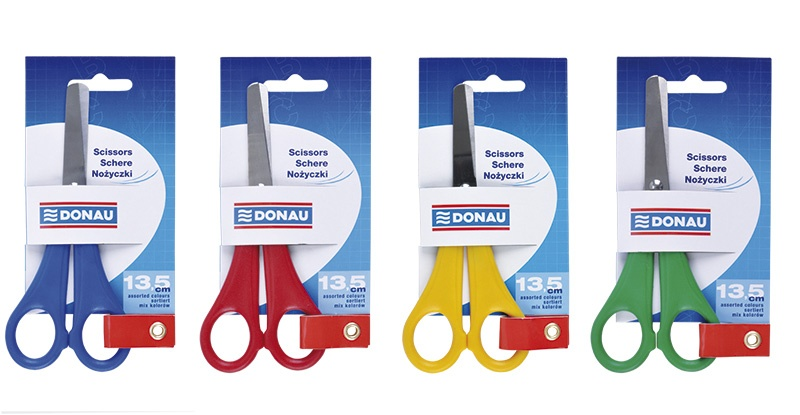 School Scissors DONAU, 13. 5cm, assorted colours