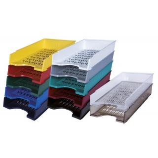Szufladka na biurko DONAU, polistyren, A4, ażurowa, żółta, Szufladki na biurko, Drobne akcesoria biurowe