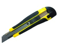 Utility Knife DONAU Professional, rubber handle, with brakes, yellow-black