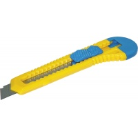 Office Cutter Knife DONAU, 18mm, plastic, with brakes, blue-yellow