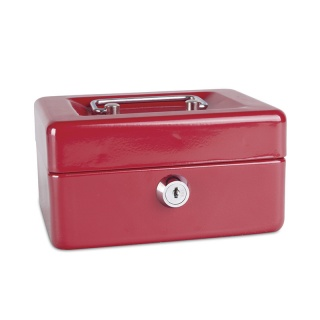 Kasetka na pieniądze DONAU, mała, 152x80x115mm, czerwona, Kasetki na pieniądze, Wyposażenie biura