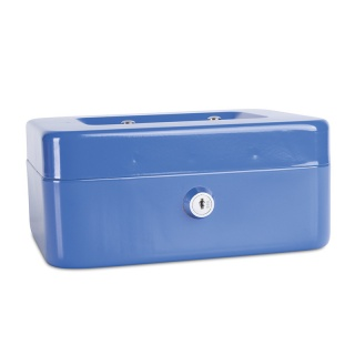 Kasetka na pieniądze DONAU, średnia, 200x90x160mm, niebieska, Kasetki na pieniądze, Wyposażenie biura