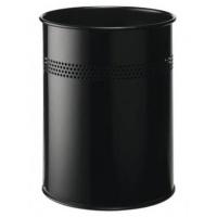 Kosz na śmieci, 15l, z perforacją, czarny, Kosze metal, Wyposażenie biura