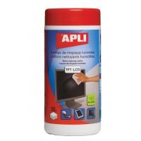 Ściereczki do czyszczenia ekranów APLI, tuba, 100szt., Środki czyszczące, Akcesoria komputerowe