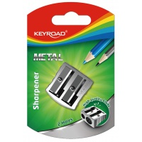 Temperówka KEYROAD, aluminiowa, podwójna, srebrna, Temperówki, Artykuły do pisania i korygowania