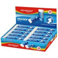 Gumka uniwersalna KEYROAD Maxi, pakowane na displayu, biała, Plastyka, Artykuły szkolne