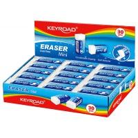 Gumka uniwersalna KEYROAD Mini, pakowane na displayu, biała, Plastyka, Artykuły szkolne