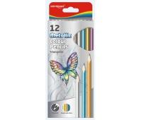 Kredki ołówkowe KEYROAD, trójkątne, metaliczne, 12szt., mix kolorów, Plastyka, Artykuły szkolne