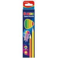 Kredki ołówkowe KEYROAD, trójkątne, neonowe, 6szt., mix kolorów, Plastyka, Artykuły szkolne