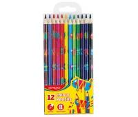 Kredki ołówkowe KEYROAD, trójkątne, z nadrukiem, 12szt., mix kolorów, Plastyka, Artykuły szkolne
